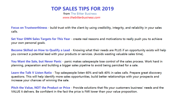 Sales Pitch Suggestions